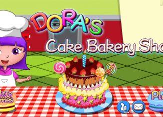 Dora piecze tort urodzinowy